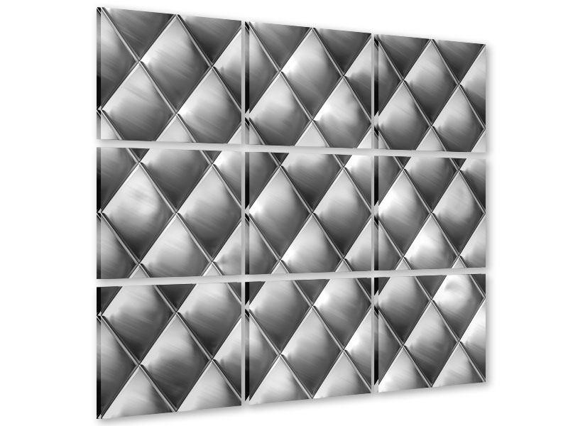 Acrylglasbild 9-teilig 3D-Rauten Silbergrau