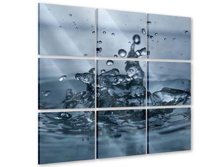 Acrylglasbild 9-teilig Wassertropfen
