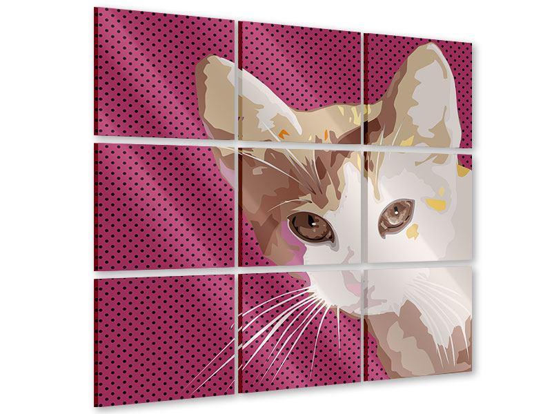 Acrylglasbild 9-teilig Pop Art Katze