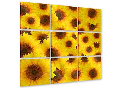 Acrylglasbild 9-teilig Ein Strauss Sonnenblumen