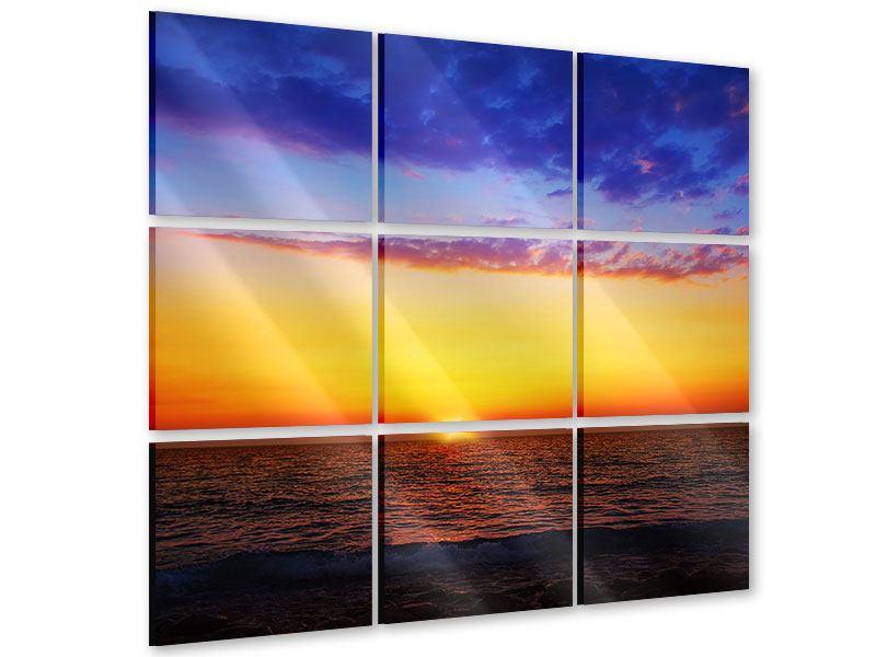 Acrylglasbild 9-teilig Leuchtender Sonnenuntergang