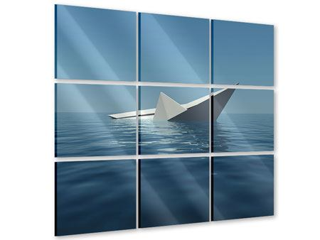 Acrylglasbild 9-teilig Papierschiffchen
