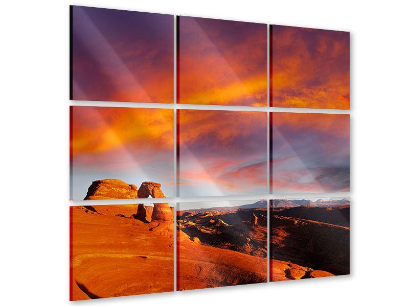 Acrylglasbild 9-teilig Sonnenuntergang im Canon