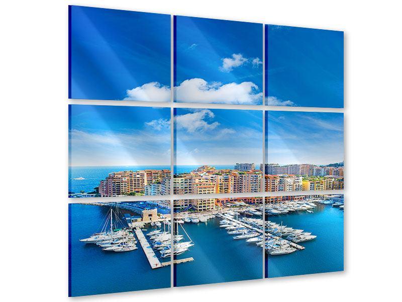 Acrylglasbild 9-teilig Skyline Panoramablick Jachthafen Monaco