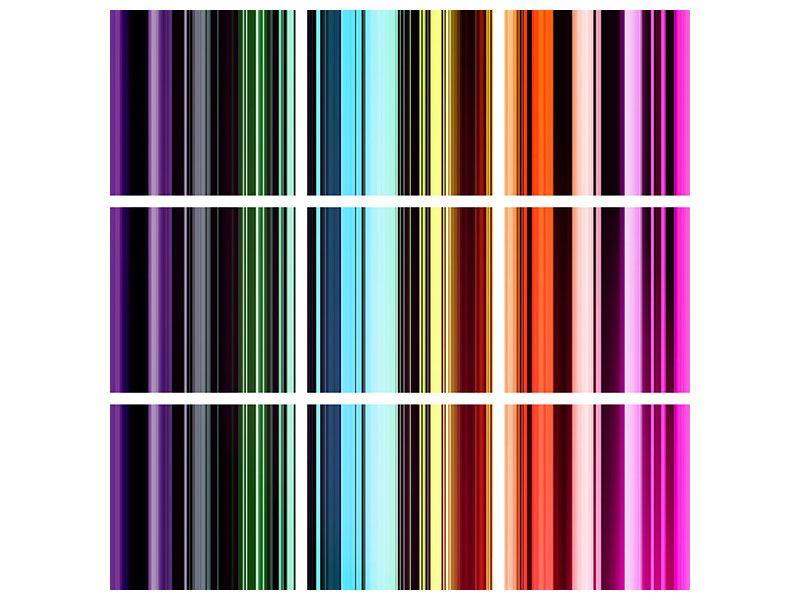 Acrylglasbild 9-teilig Bunte Streifen
