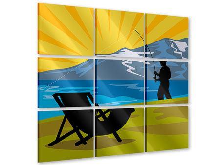 Acrylglasbild 9-teilig Der Angler