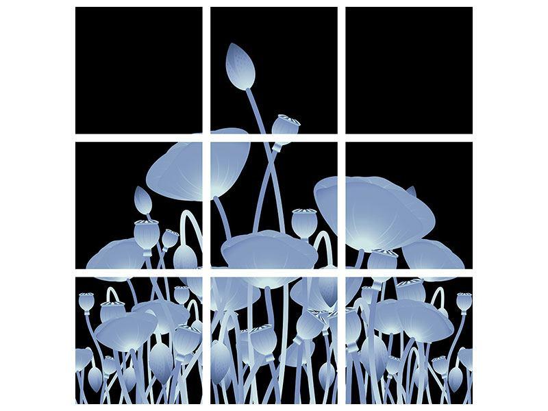 Acrylglasbild 9-teilig Futurische Blumen