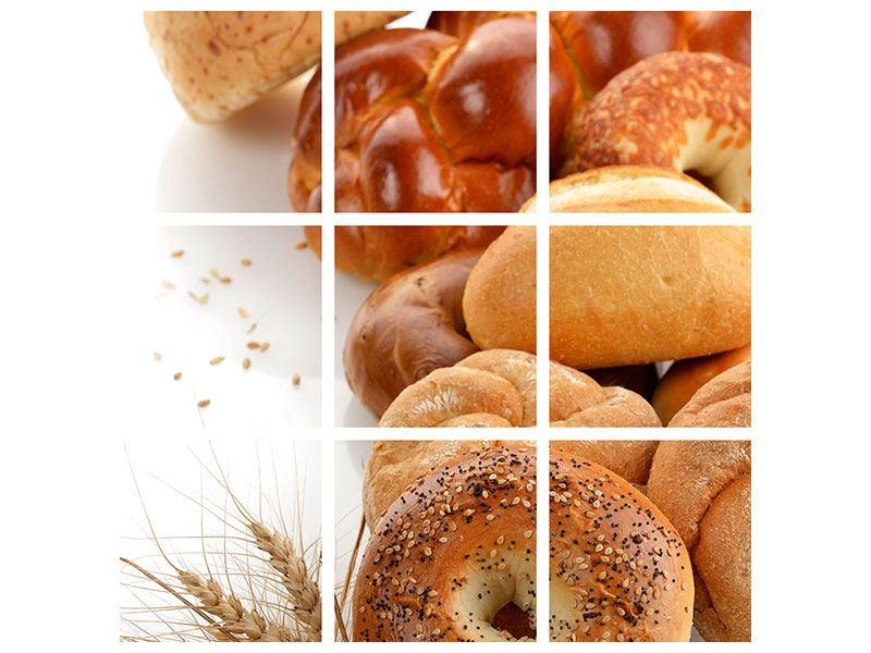 Acrylglasbild 9-teilig Frühstücksbrötchen