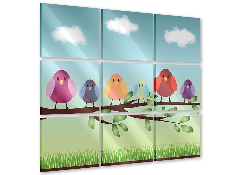 Acrylglasbild 9-teilig Alle Vögel sind schon da