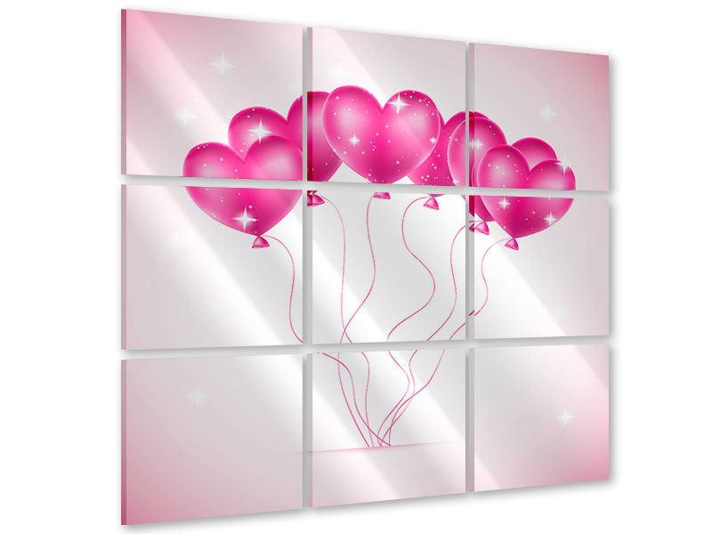 Acrylglasbild 9-teilig Herzballons