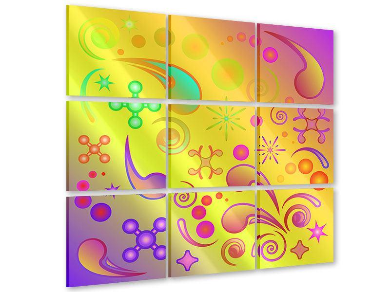 Acrylglasbild 9-teilig Flower Power