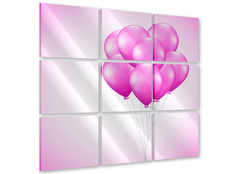 Acrylglasbild 9-teilig Rosarote Luftballons
