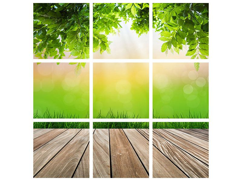 Acrylglasbild 9-teilig Gartenterrasse