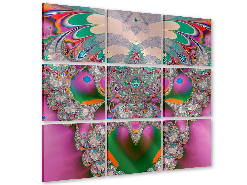 Acrylglasbild 9-teilig Fraktal Design