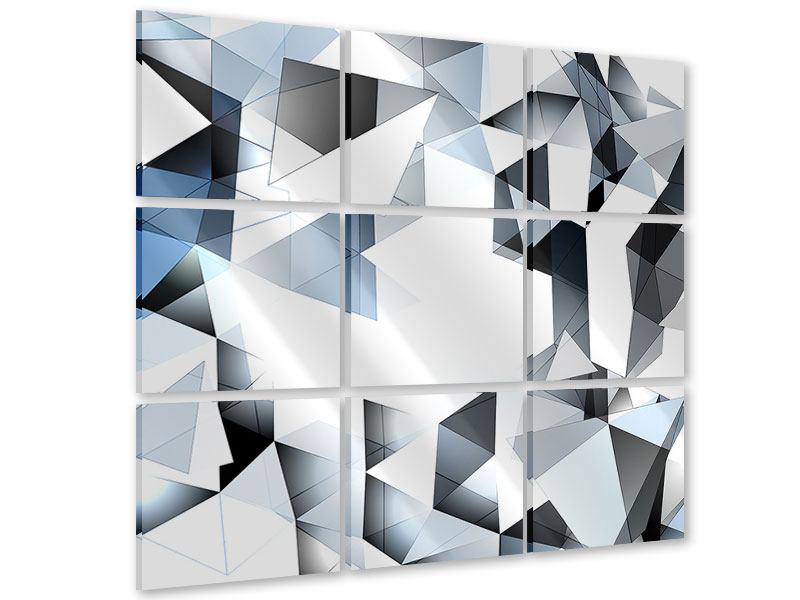 Acrylglasbild 9-teilig 3D-Kristalle