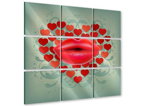 Acrylglasbild 9-teilig Rote Lippen soll man küssen