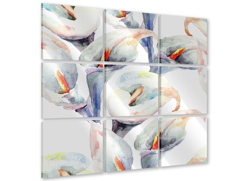 Acrylglasbild 9-teilig Lilien Aquarell
