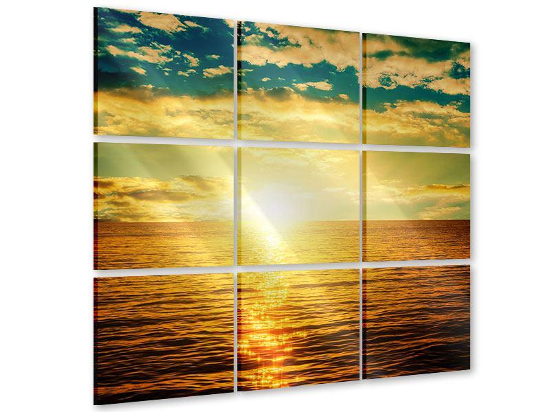 Acrylglasbild 9-teilig Sonnenuntergang am Meereshorizont