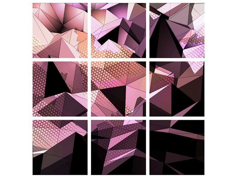 Acrylglasbild 9-teilig 3D-Kristallstruktur