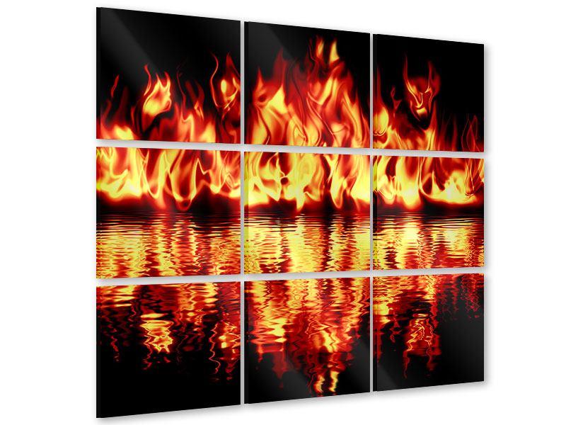 Acrylglasbild 9-teilig Feuerwasser
