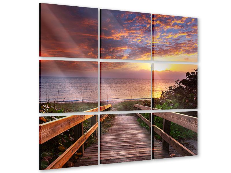 Acrylglasbild 9-teilig Sonnenuntergang