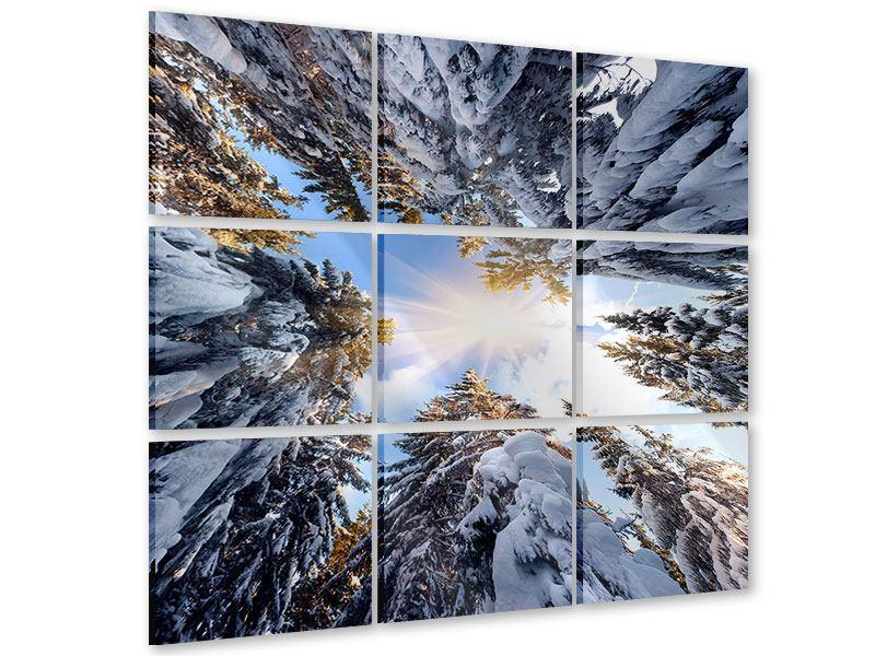 Acrylglasbild 9-teilig Verschneite Tannenspitzen in der Sonne