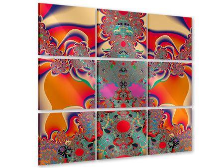 Acrylglasbild 9-teilig Psychedelische Kunst