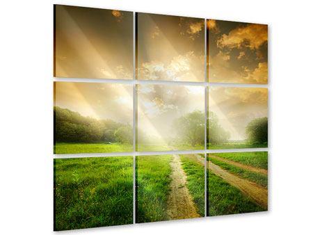 Acrylglasbild 9-teilig Mystischer Sonnenuntergang