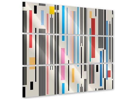 Acrylglasbild 9-teilig Grafische Streifen