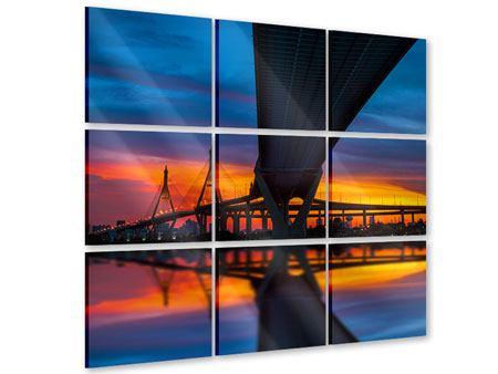 Acrylglasbild 9-teilig Bhumiboll-Brücke bei Sonnenuntergang