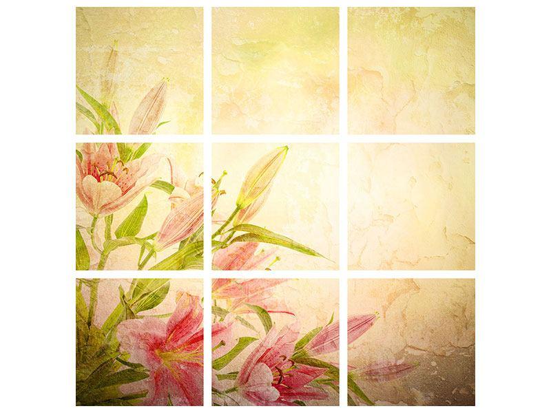 Acrylglasbild 9-teilig Lilien-Gemälde