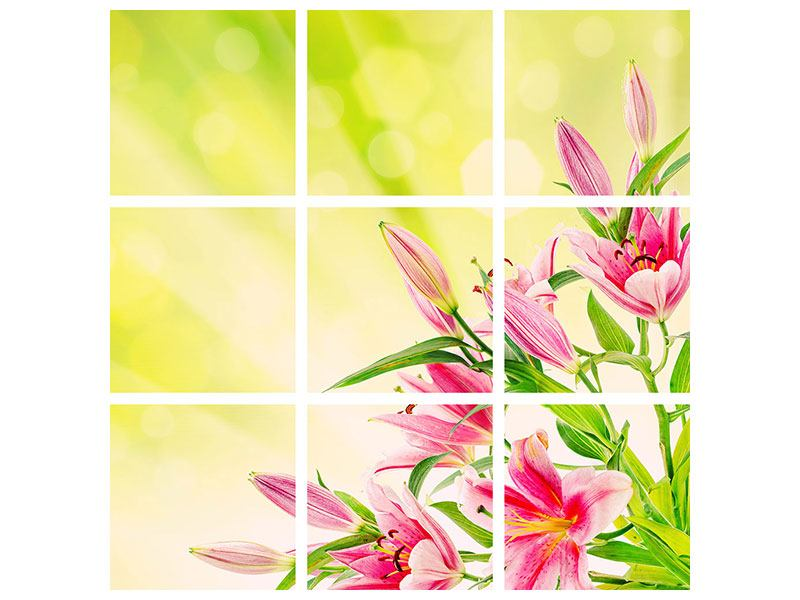 Acrylglasbild 9-teilig Lilienstrauss