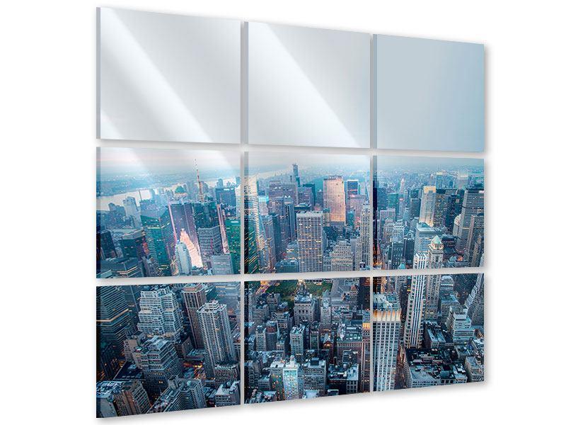 Acrylglasbild 9-teilig Skyline Manhattan in der Abenddämmerung