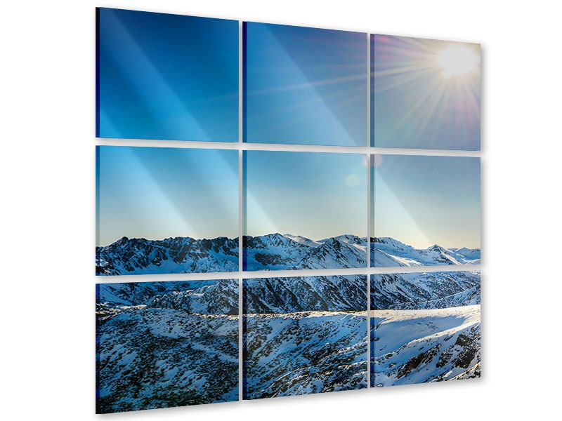 Acrylglasbild 9-teilig Berge im Schnee
