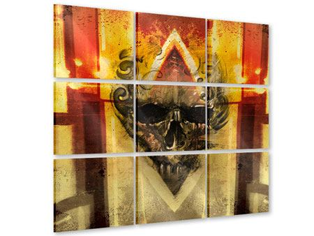 Acrylglasbild 9-teilig Kunstvoller Totenkopf
