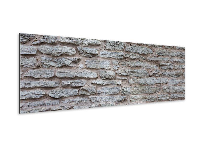 Aluminiumbild Panorama Steinmauer
