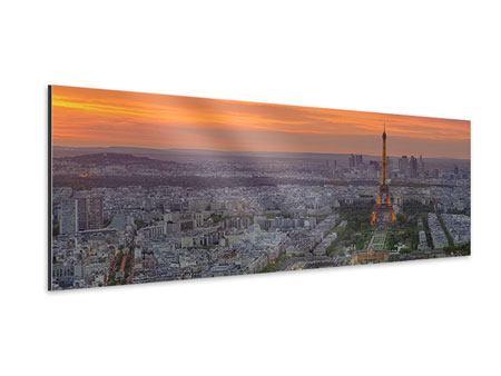 Aluminiumbild Panorama Skyline Paris bei Sonnenuntergang