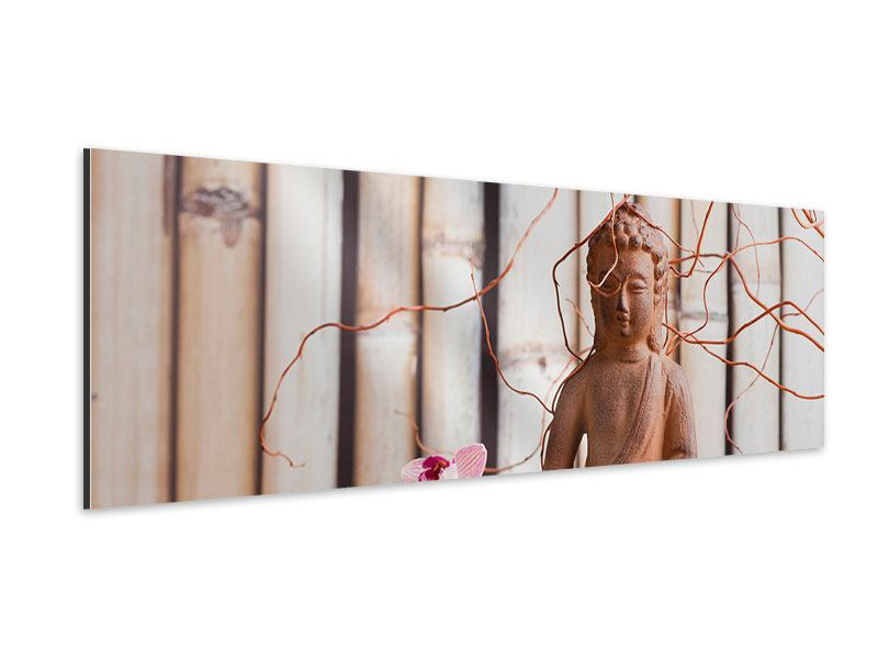 Aluminiumbild Panorama Buddha + Wellness