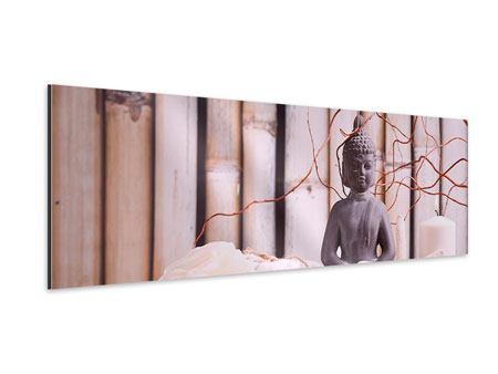 Aluminiumbild Panorama Spa + Buddha
