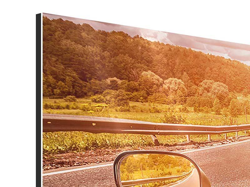 Aluminiumbild Panorama Motorrad-Tour