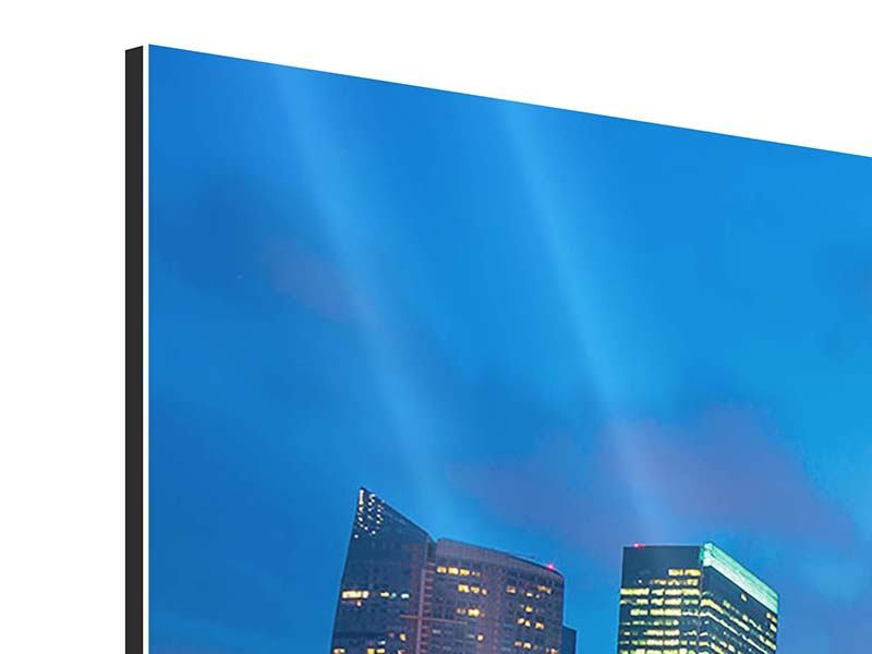 Aluminiumbild Panorama Skyline Singapur im Lichtermeer