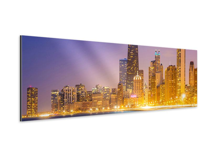 Aluminiumbild Panorama Skyline Chicago in der Nacht