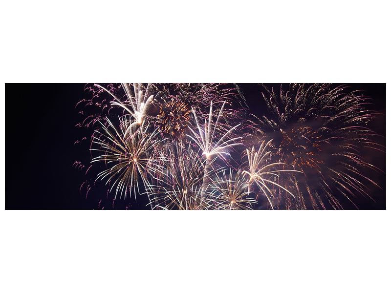 Aluminiumbild Panorama Feuerwerk