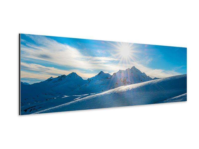 Aluminiumbild Panorama Ein Wintermärchen in den Bergen