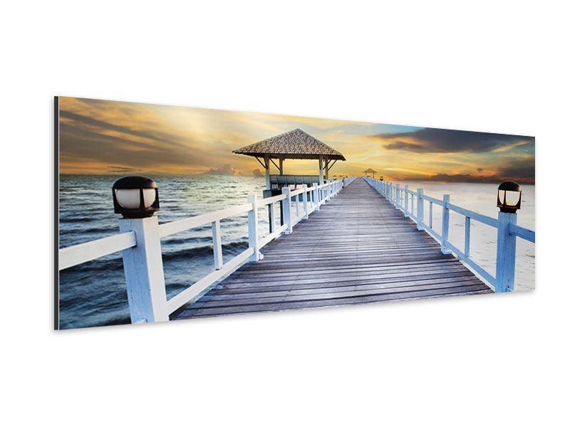 Aluminiumbild Panorama Die Brücke ins Meer