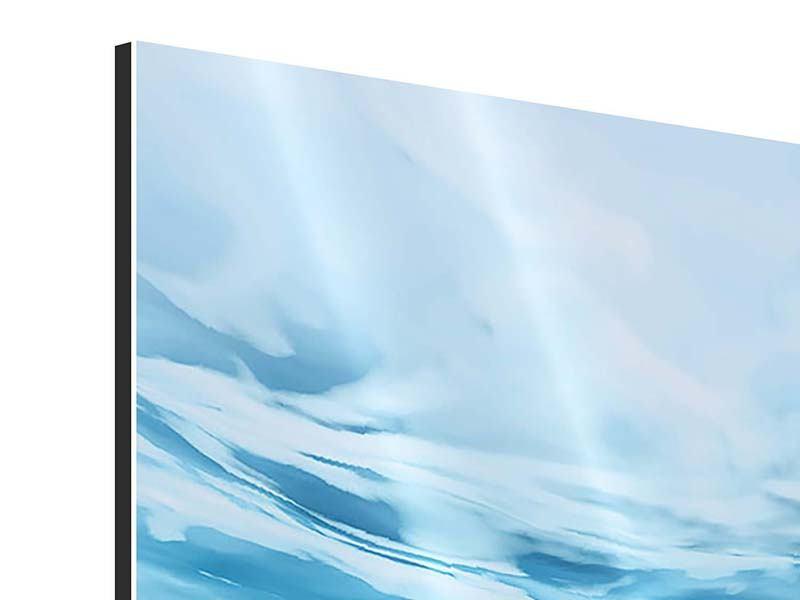 Aluminiumbild Panorama Lichtspiegelungen unter Wasser