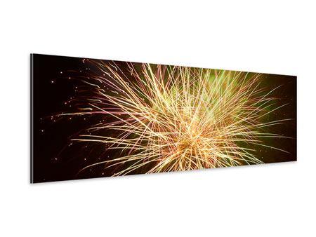 Aluminiumbild Panorama Feuerwerk XXL