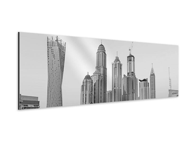 Aluminiumbild Panorama Majestätische Wolkenkratzer in Dubai