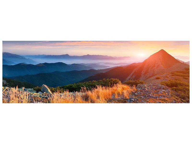 Aluminiumbild Panorama Sonnenuntergang in den Alpen