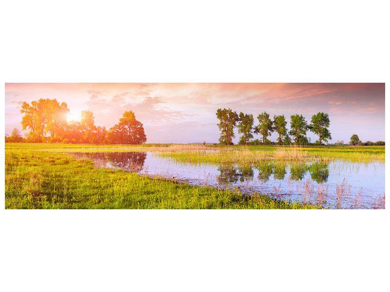 Aluminiumbild Panorama Sonnenuntergang am See